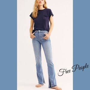 Free People Emmy Split Hem Bootcut Jeans in Sky